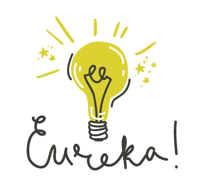 immagine di una lampadina e della scritta eureka